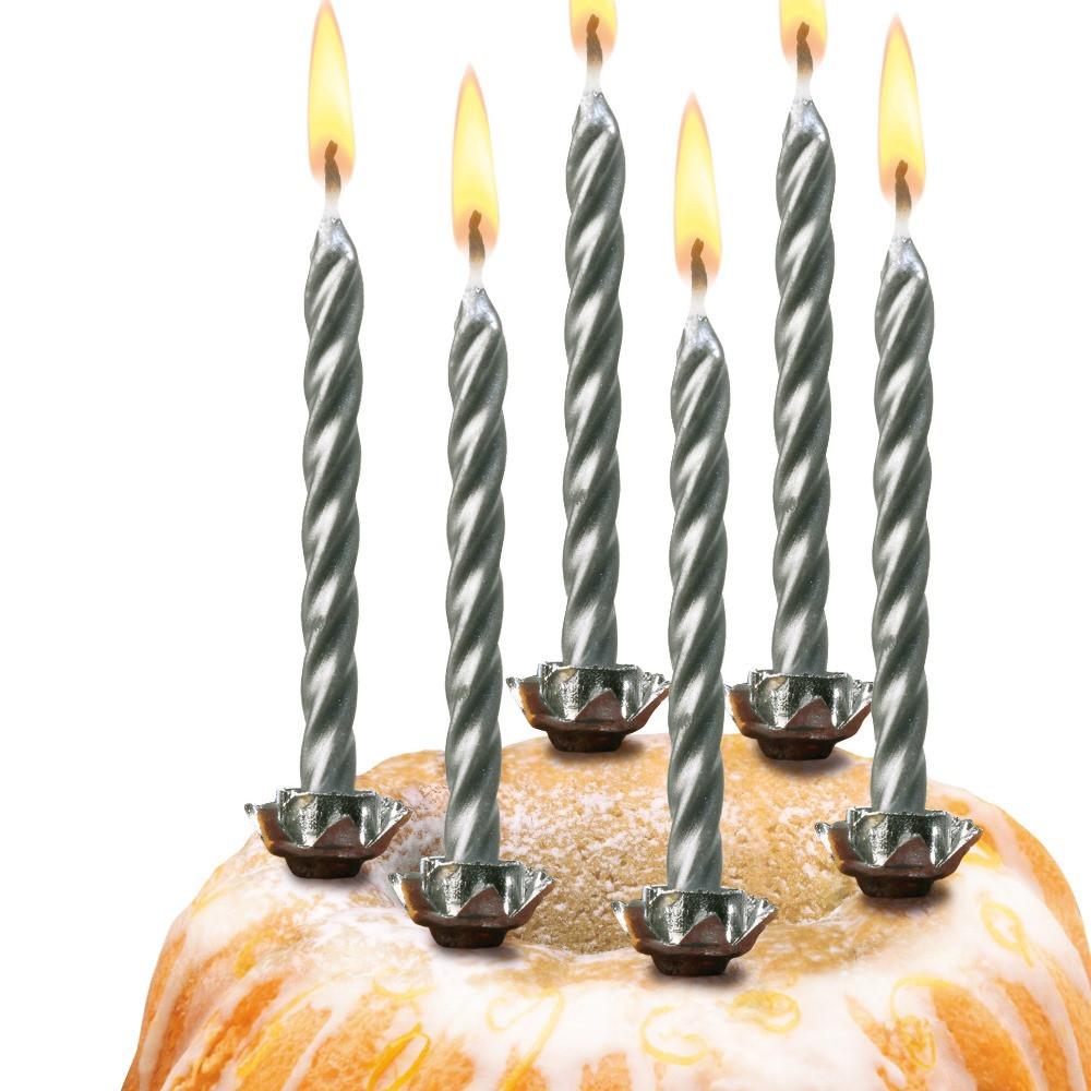 Свечи для торта Susy Card Silver 6см 10шт спиральные серебристые