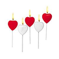 Свечи для торта Susy Card Heart 5шт Сердечки красные+белые