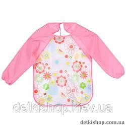 Слюнявчики з рукавами Dilidala (квіти рожевий)
