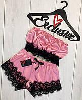Розовая пижама топ и шорты с кружевом ТМ Exclusive