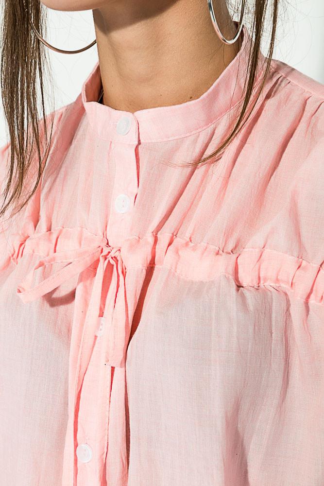 d66eed06d11 Рубашка женская с завязками на груди 64PD337-1 (Персиковый)
