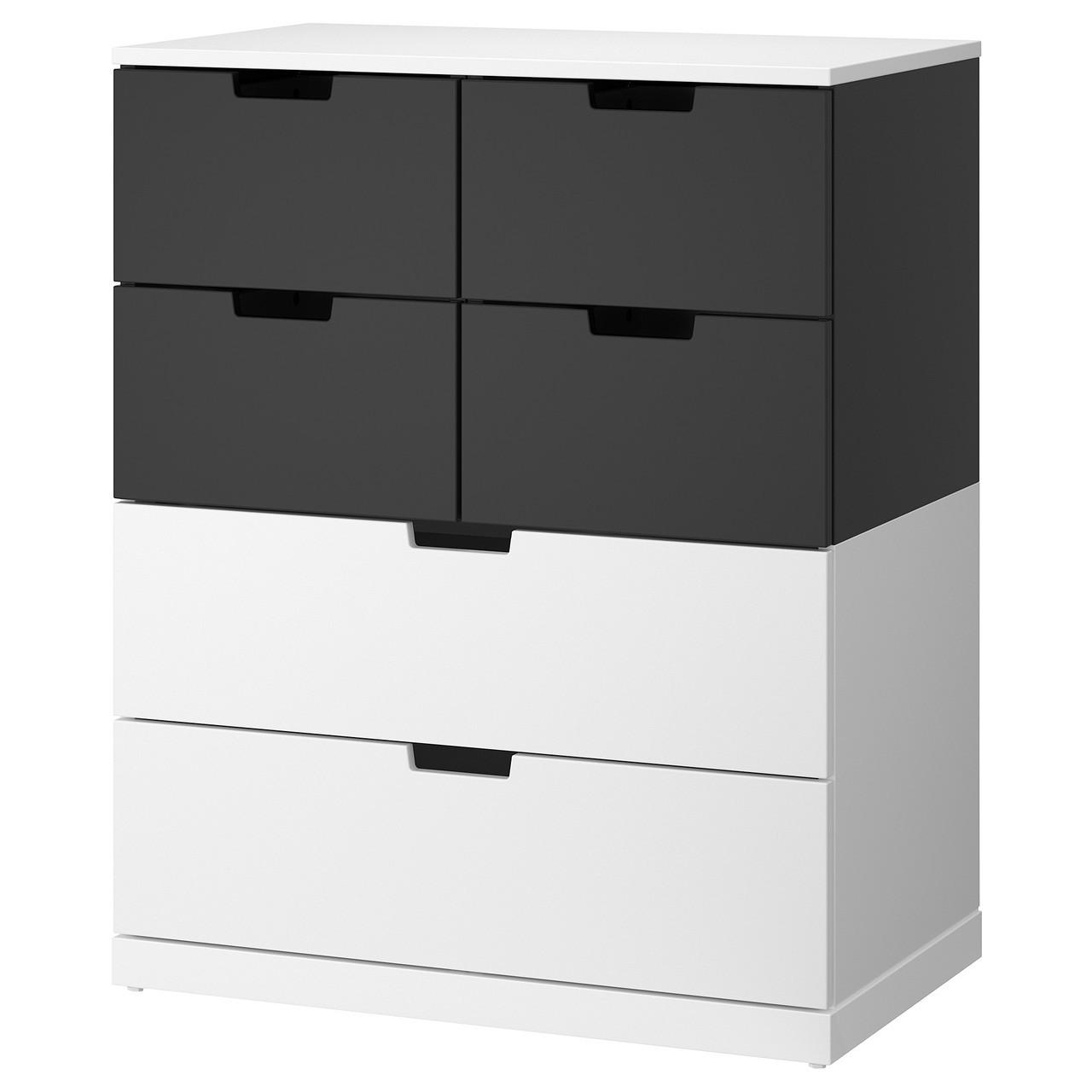 IKEA NORDLI (592.117.60) Комод, 6 ящиков, белый, антрацит