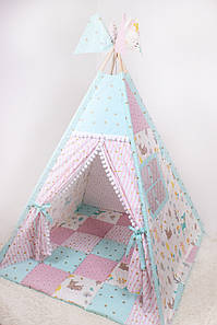 Детская палатка-вигвам Лесные животные125х125х170 см