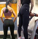 Лосины для фитнеса леггинсы для спорта черные с эффектом Пуш Ап №03 — L спортивные, фото 10