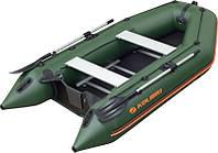 Лодка надувная Колибри км-330д с жестким дном и надувным килем четырехместная лодка