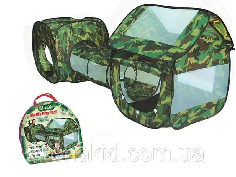 """Детская палатка военная Камуфляж с тоннелем (230х70х85см) А999-146  """"3 в 1 плюс"""""""