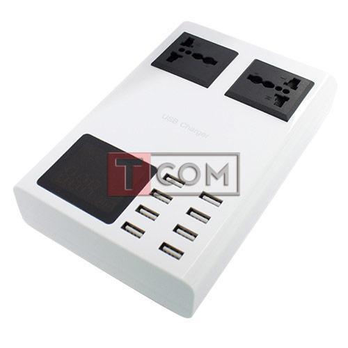 Сетевая зарядка на 8 гн.USВ c дисплеями (AC 220V/ DC 5V 8.2A) c кабелем 1.5м