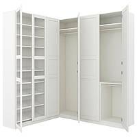 IKEA PAX (392.179.80) Угловой шкаф, белый Тысадал, Тысадальное стекло