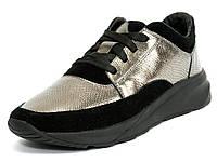 Кроссовки кожаные женские замшевые серебристо-черные Mida 21910 c0b83fae74d6a