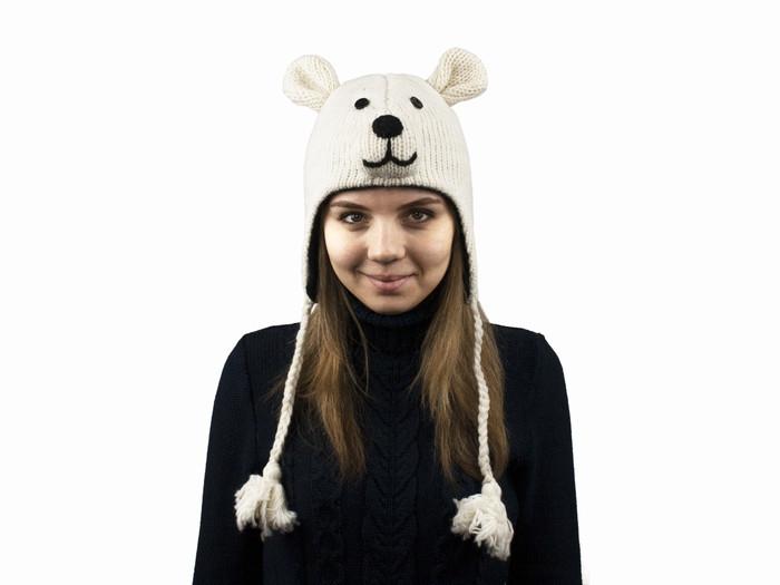 Шапка в'язана тепла Білий ведмідь