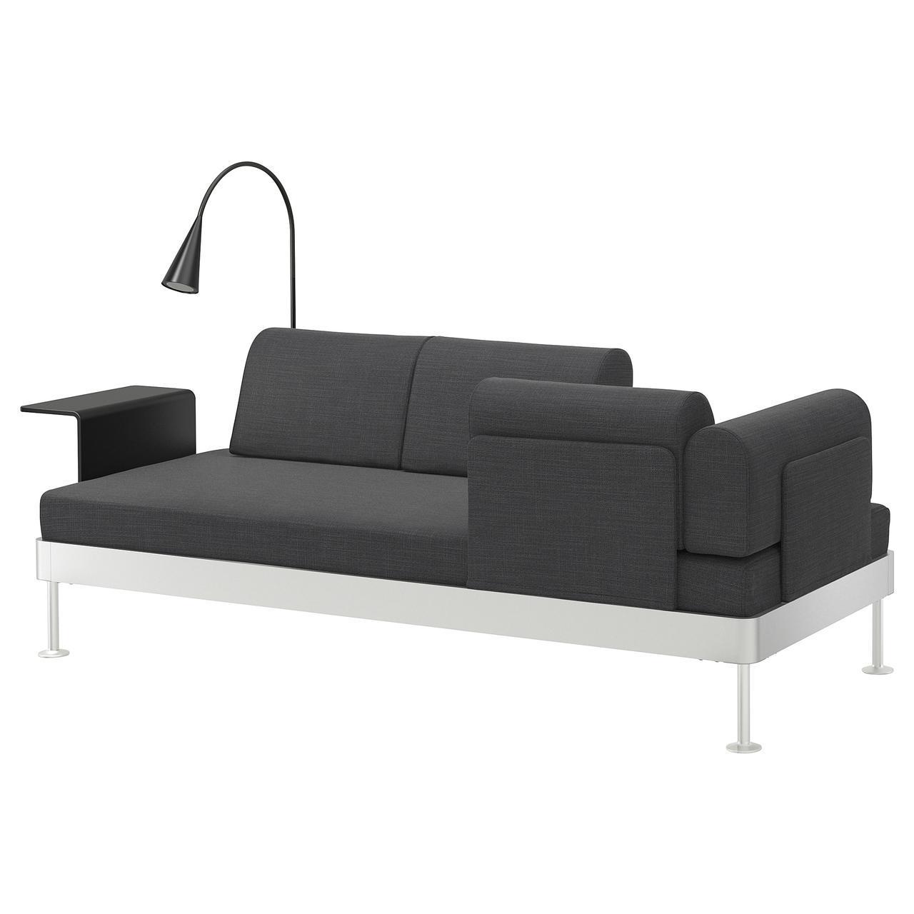IKEA DELAKTIG (092.597.59) Диван 3-местный стол/лампа, анклацит с ангидритом