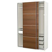 IKEA PAX (391.600.35) Шкаф/гардероб, белый, шпон шпат Ilseng, окрашенный коричневым