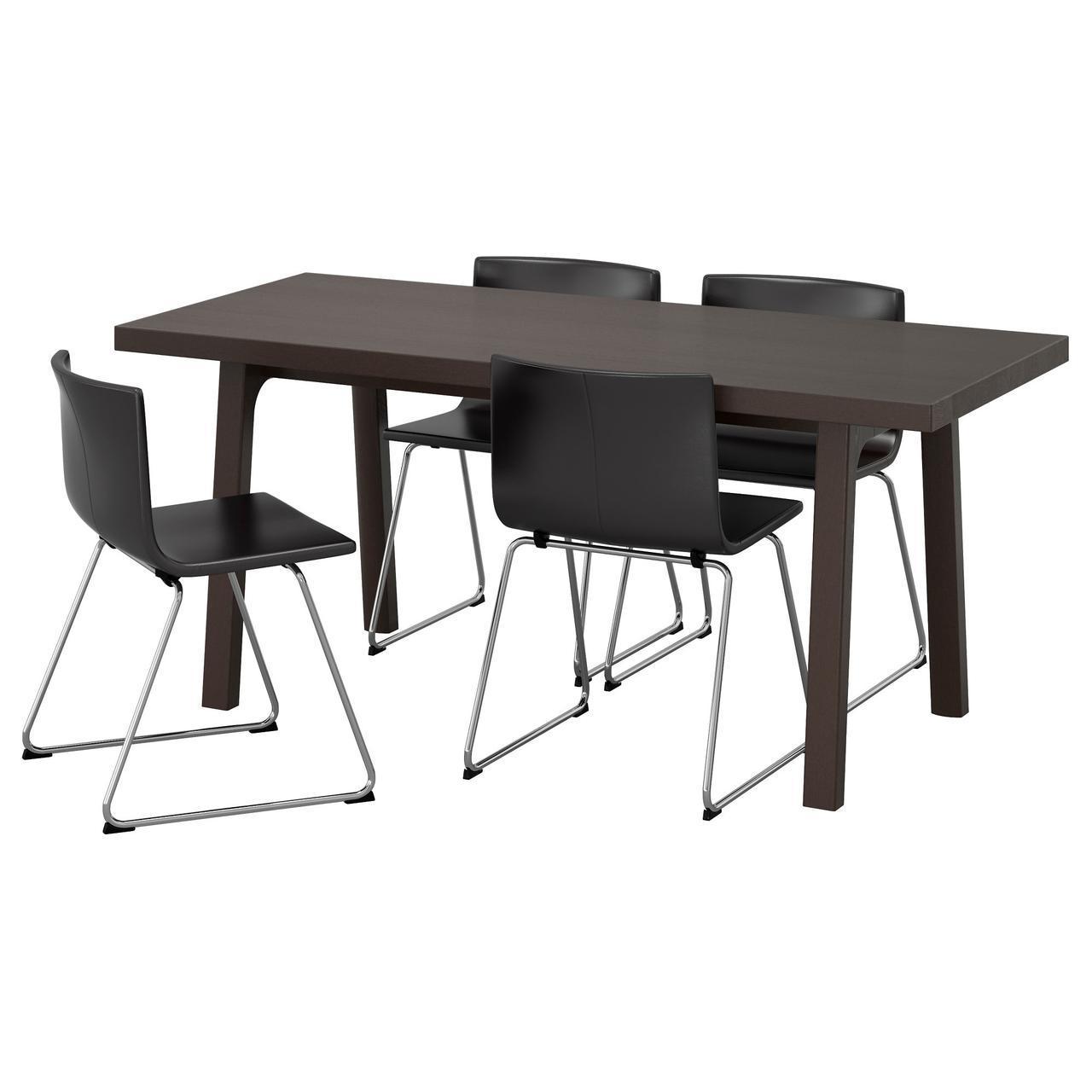 IKEA VASTANBY/VASTANA / BERNHARD (891.615.65) Стол и 4 стула темно-коричневый