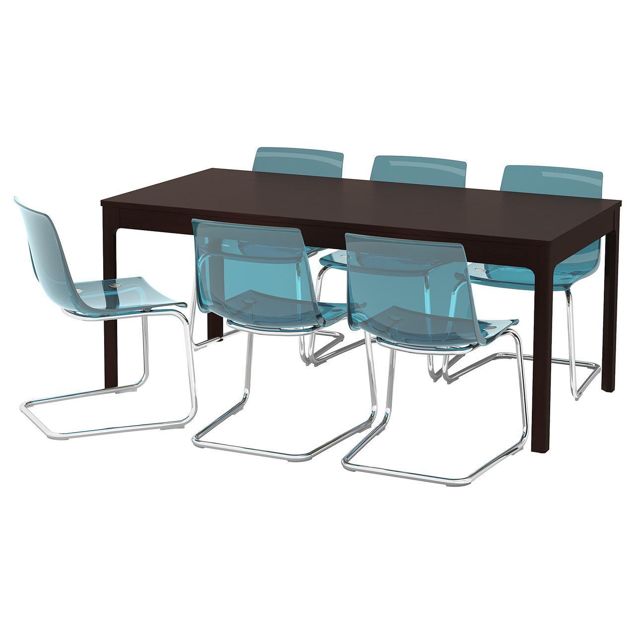 IKEA EKEDALEN / TOBIAS (892.213.19) Стол и 6 стульев, синий, синий
