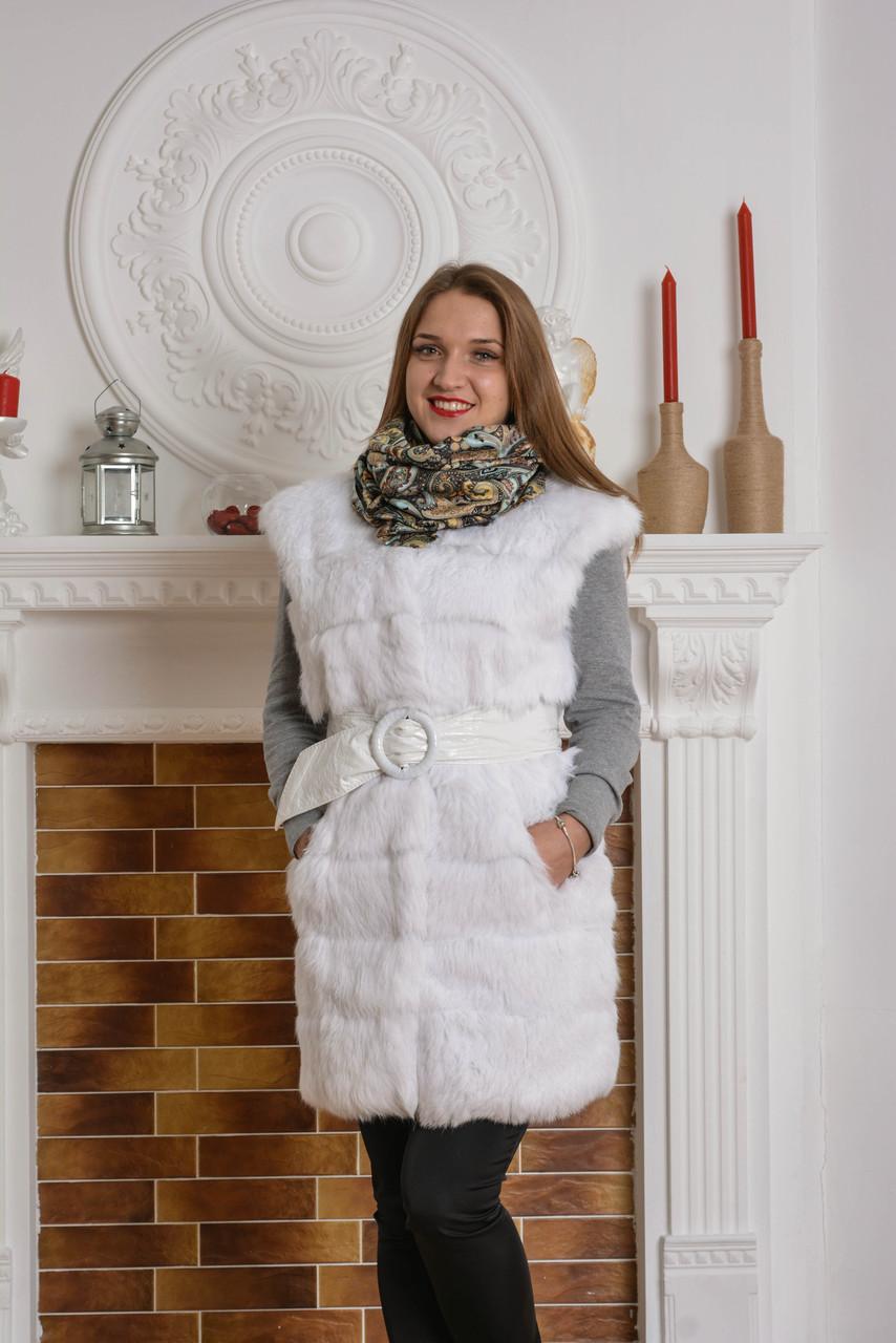 Белая жилетка из кролика удлиненная