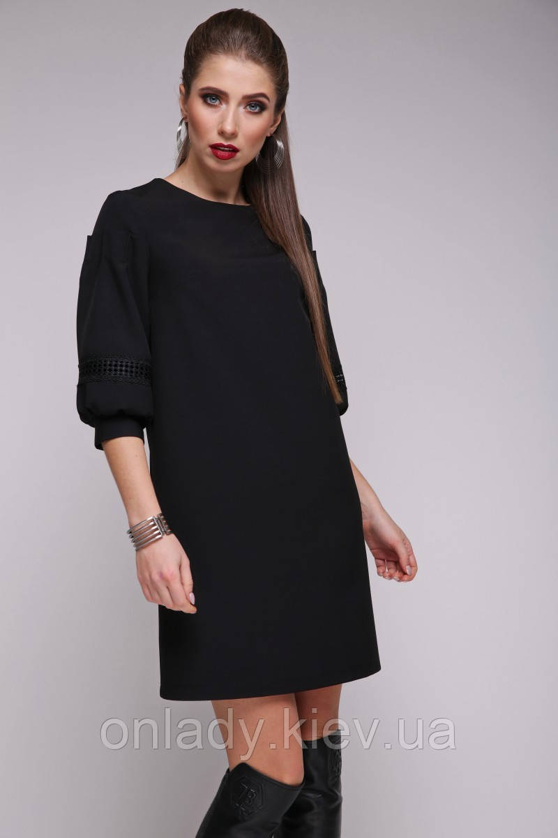 db96f73cc Черное классическое платье трапеция с рукавами фонариками (S, L) -  Интернет-магазин