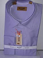 Рубашка мужская De Luxe vd-0055 сиреневая в полоску классическая с длинным рукавом