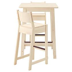 IKEA NORRAKER / NORRAKER (192.972.75) Барный стул и 2 стола, белая береза, белая береза