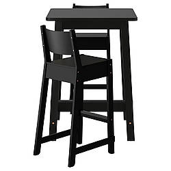 IKEA NORRAKER / NORRAKER (792.419.40) Барный стол и 2 стула, черная береза, черная береза
