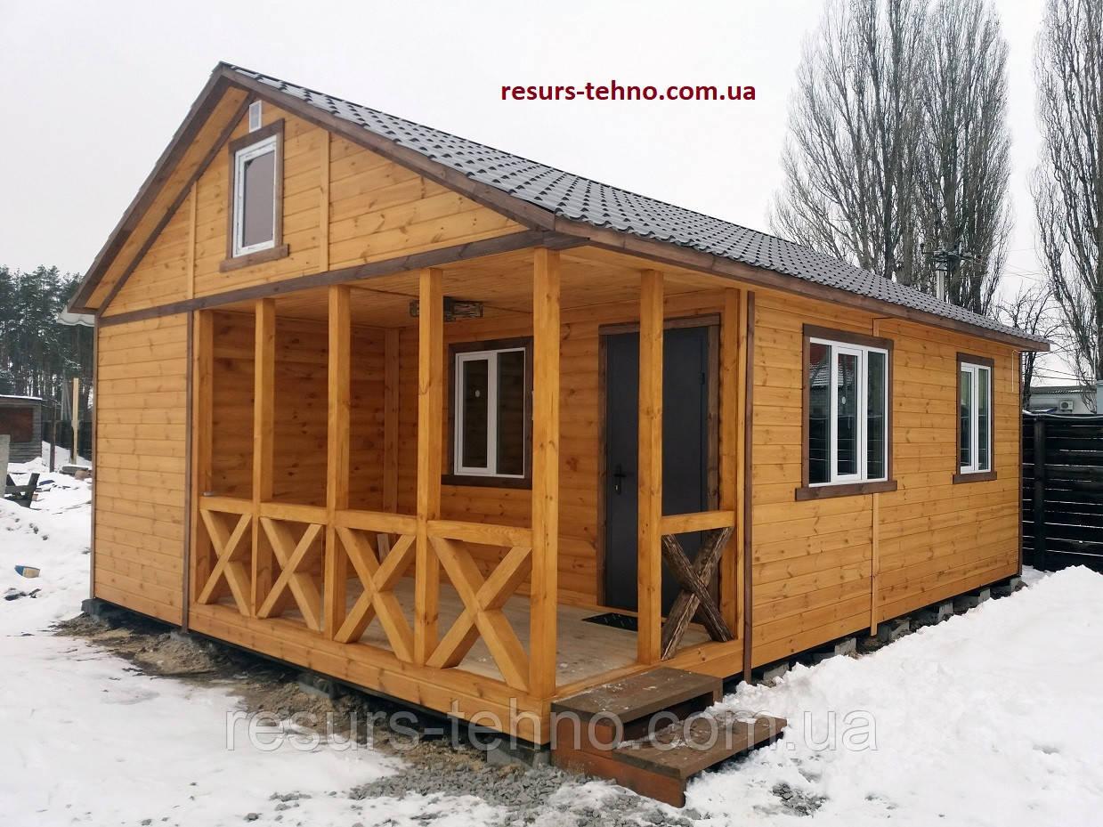 Дачный домик  деревянный сборный 8м х 6м с террассой