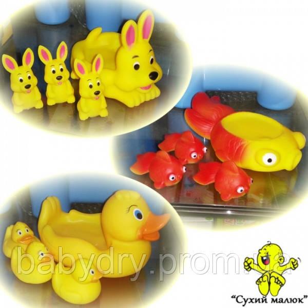 Іграшка для купання Каченя, Зайчики, Рибки пищалка в асортименті, арт.6327  - CM00461