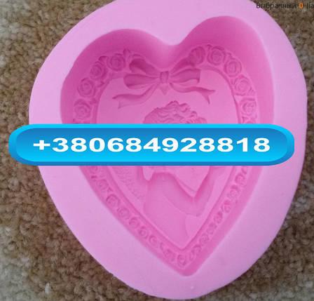 Пищевая силиконовая форма ангелочек сердце, фото 2