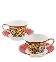 """Чайный набор на 2 персоны """"Цветочный джаз"""" (Jazz Floreale Pavone) из костяного фарфора"""