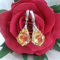Бесподобные серебряные сережки с подвесками Swarovski Baroque