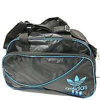 Дорожні спортивні сумки Adidas з плащової тканини (чорний+блакитний)28*43см
