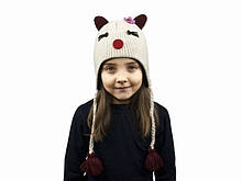 Вовняна шапка дитяча для дівчинки Білий кіт