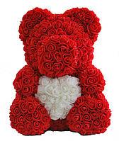 Мишка из искусственных 3D роз с сердечком / В коробке / 40 см