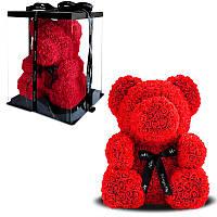 Мишка из искусственных 3D роз / В коробке / 25 см