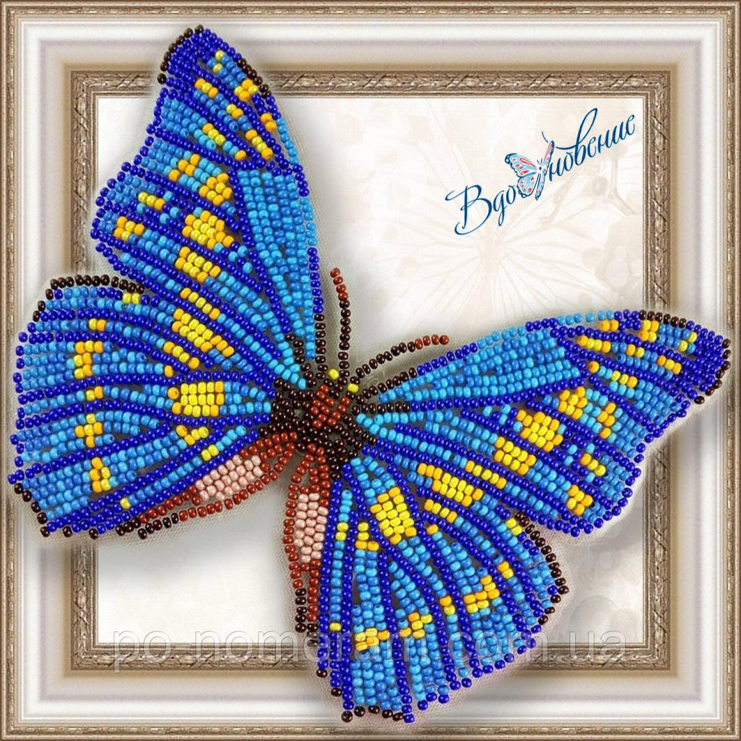 Бабочка из бисера вышивка на пластиковой основе Морфо Киприда (BGP010)