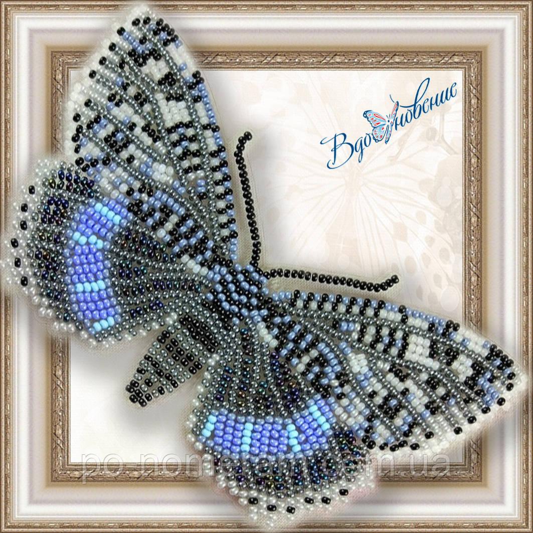 Бабочка из бисера вышивка на пластиковой основе Ленточница голубая (BGP040)
