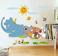 Интерьерные виниловые наклейки животных зоопарк слон пчелы медведь обезьяна  для детской комнаты  44*25см.