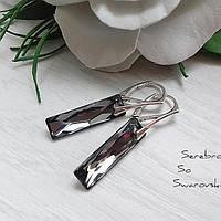 Нарядные модные серебряные сережки с подвесками Сваровски Queen Baguette
