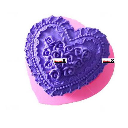 Харчова силіконова форма серце з трояндами, фото 2