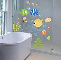 Интерьерные виниловые наклейки тропические рыбы в санузел для детей
