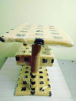 Когтеточка с диваном двухэтажная Пушистик бежевая30*38*50 см