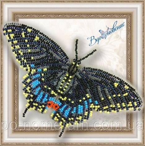 Бабочка из бисера вышивка на пластиковой основе Черный Махаон (BGP003)