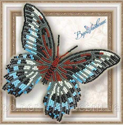 Бабочка из бисера вышивка на пластиковой основе Парусник Полимнестор (BGP004)