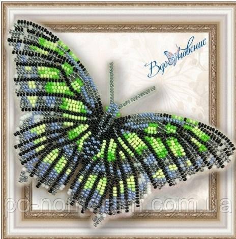 Бабочка из бисера вышивка на пластиковой основе Малахитовая (BGP013)