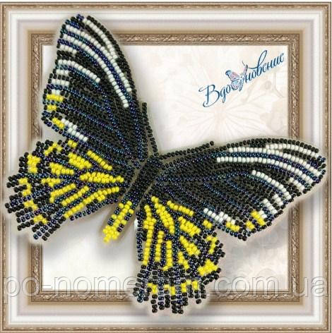 Бабочка из бисера вышивка на пластиковой основе Золотая Птицекрылка Радамант (BGP014)