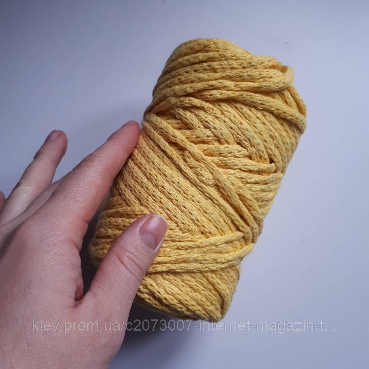в наличии шнур хлопковый толстый для макраме и вязания желтый 80 м