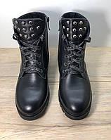 Ботинки женские демисезонные кожаные на шнурках с молнией