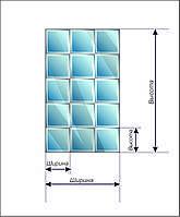 Панно зеркальное НСК 100смх200см, квадраты, серебро (натуральный цвет), фацет 1,5см