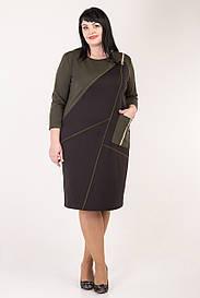 Женское трикотажное комбинированное платье 58-64 р-р