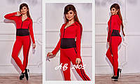 Женский спортивный комбинезон с капюшоном и ломпасами красный  42 44 46, фото 1