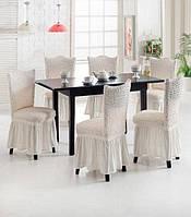 Чехлы жатка-креш универсальные для стульев кремового цвета (натяжные) с оборкой