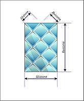 Дзеркальне Панно НСК 100смх100см, ромби, срібло (натуральний колір), фацет 1,5 см